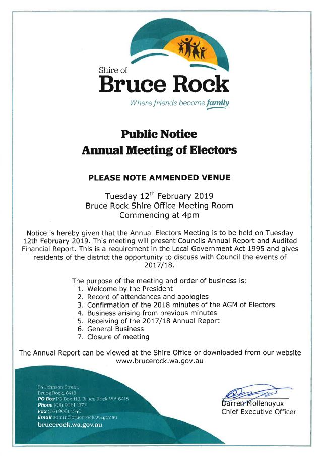 2019 Annual Electors Meeting