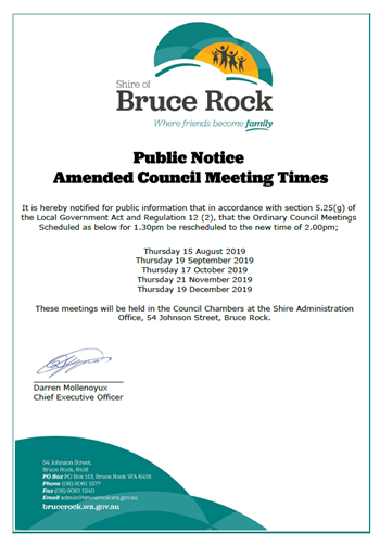 Amended Council Meeting Times